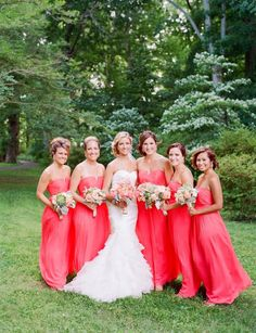 Watermelon Colored Strapless Bridesmaids Dresses 1 | Wedding ...