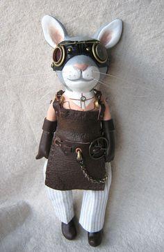 Steampunk Rabbit Scientist Art Doll
