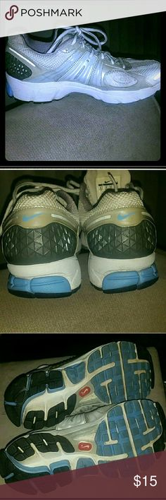 Women's Nike baby blue and white running shoes Women's Nike baby blue and white running shoes   Nike Baby Blue and White Running Shoes. Good condition.  I have more pics of the inside of the shoe as well. The white part is a little discolored from being in the sun. Nike Shoes Athletic Shoes
