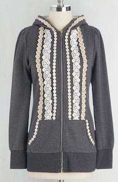 Grey and lace zip up sweater