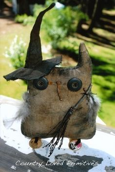 """Boo the Owl"" ~~LOVE HIM!!~~ ""Boo the Owl is for your Halloween needs. Boo stands about 8.5"" x 6"". Those big eyes and feathers make him so loveable. Once the hat and broom are put on, he becomes so scary!! He is easy and fast to make.""   Designer: Country Loved Primitives"