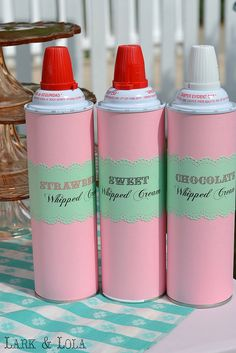Wrapping paper and fancy labels to make whipped cream look pretty