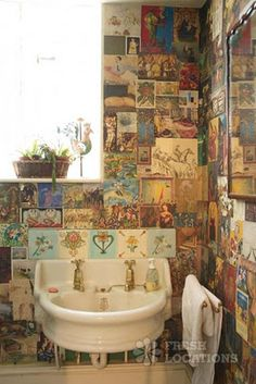 The Old Rectory - Oxon. Love the collaged walls in the bathroom here.