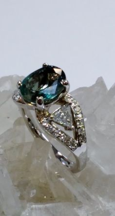 d7dae318f 3.35ct Natural Alexandrite & Diamond Ring 14KW by GemistryJewelry on  Etsy https:/