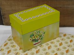 Vintage Yellow Metal Recipe Box Holder, Ohio Art, Flower Bouquet, Metal File Box, Mid Century Tin Storage Container, Yellow Kitchen Decor by AgsVintageCove on Etsy