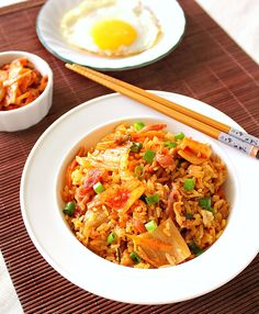 Kimchi Fried Rice with Bacon & Egg