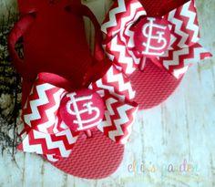 St. Louis Cardinals Red and White Glitter Chevron by elliesgarden, $23.99