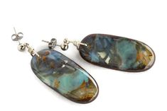 Solid Boulder Opal Earrings with Silver Top - Opal Art Global Boho Jewelry, Gemstone Jewelry, Jewelry Design, Free Shapes, Silver Tops, Opal Earrings, Bouldering, Boho Fashion, Boho Chic