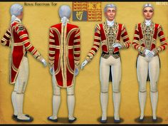 Royal Household staff coat, preforming duties around the palaces in formal traditional style. The footman coat is a top for males and females. The gold stripes reflect light.  Based off the british...