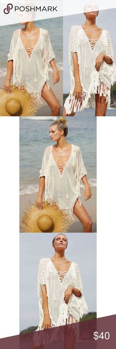 Boho white Fishnet Fringe Festival Coverup Kaftan Lovely, medium softness and feminine! This piece is a pretty addition to any swimwear. Made in fishnet silhouette and fringing trim. Makes you feel like you're sailing like a pirate princess. Wear easily as a tunic, over a tank top, or over your swimsuit and cherish your time in the sun.   Festival Ready and Bohemian looking.  Material:  20%Polyester and 80%cotton Size: Small, but could fit larger as it is a bit oversized and meant to fit…