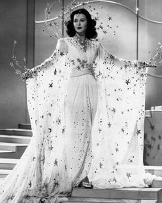 """Hedy Lamarr in a star costume ensemble in """"Ziegfeld Girl"""" Costume design by Adrian ♥️ Vintage Hollywood, Old Hollywood Glamour, Golden Age Of Hollywood, Classic Hollywood, Hollywood Cinema, Hollywood Fashion, Hollywood Girls, Hollywood Stars, Vintage Glamour"""