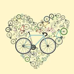 I Heart my bike! This illustration is made up of an estimated individual parts and many different colours, see if you can spot your bike or send me a message and I can put the colours of your beloved machine as the central bike for you! Cycling Tattoo, Bicycle Tattoo, Cycling Art, Cycling Bikes, Cycling Equipment, Bicycle Rims, Bicycle Art, Bike Quotes, Motorcycle Gloves
