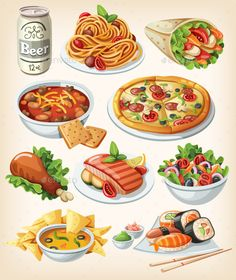 Set of Traditional Food Icons by moonery Collection of most common city dinners, kinds of street food, fast food and traditional meals of some regions. Cute Food Drawings, Food Clips, Food Sketch, Watercolor Food, Food Painting, Paintings Of Food, Food Icons, Clip Art, Tasty