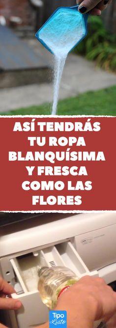 Así tendrás tu ropa blanquísima y fresca como las flores #vinagre #colada #ropa #lavadora #limpieza #lavar