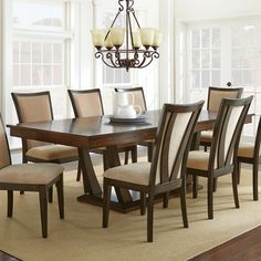 Have to have it. Steve Silver Gabrielle Dining Table - Medium Walnut - $746 @hayneedle 66-96