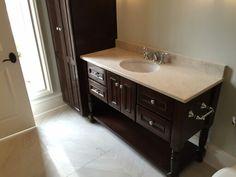 Beautiful bathroom vanity and linen storage cabinet!