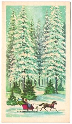 CHRISTMAS: Vintage Christmas Card A one-horse open sleigh Snow - pine trees - winter                                                                                                                                                                                 More