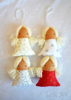 Beautiful handmade christmas angels to hang on your Christmas Tree or anywhere else where you want to make the right Christmas feeling:) The angels can also be a nice gift to a friend etc. 12cm tall. Christmas angels are made from cotton fabric, felt (for wings) and acrylic yarn for hair. Their faces are painted with fabric paints. Each one has a string for hanging. Polyester filling inside. Can´t be washed, only spot cleaned. Please note - it´s not a toy so don´t give it to a child to play…