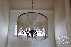 Looking to update my antique chandelier with some sort of drum shade and came across this DIY Barrel Shade Chandelier Large Chandeliers, Antique Chandelier, Drum Shade Chandelier, Lampshades, Shabby Chic Decor, Home Decor Inspiration, Light Fixtures, Barrel, Burlap