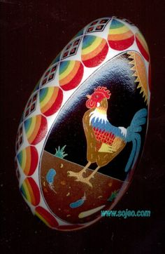 Pysanka Rooster Egg Art by So Jeo.