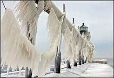 St. Joseph Lighthouse covered in ice - Bing images