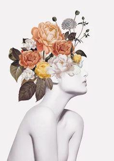 Floral beauty 7 Art Print by Collage Design, Collage Art, Fashion Wall Art, Flower Art, Flower Collage, Surreal Art, Aesthetic Art, Art Sketchbook, Art Inspo