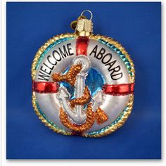 Life Preserver boat blown Glass Merck's Old World Christmas Ornament NWT 36078