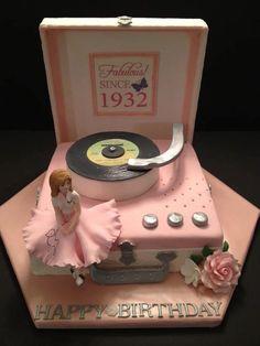 "Edible Art - Pink Record Player Cake. Terrific ""Sweet Sixteen"" cake."