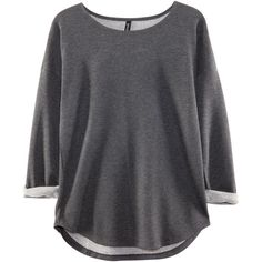 H&M Top (£9.99) ❤ liked on Polyvore featuring tops, shirts, h&m, sweaters, dark grey, dark grey shirt, shirt top, 3/4 length sleeve shirts, three quarter sleeve tops and 3/4 sleeve shirts