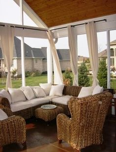 screened in porch  Could be considered for the deck - just curtains, no walls