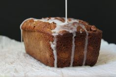 Rhubarb Banana Bread with Cardamom Glaze - this banana bread is moist, sweet with a hint of tartness and the cardamom glaze really makes this one stand out in a crowd! This is a perfect way to use up your remaining rhubarb. Rhubarb Bread, Rhubarb Rhubarb, Banana Bread, Banana Dessert Recipes, Rhubarb Recipes, Desserts, Bread Cake, Loaf Cake, How Sweet Eats