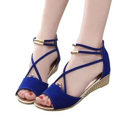 Amiley® Women's Casual Wedge Peep Toe Dress Sandals Ankle Strap Beach Shoes >>> To view further for this item, visit the image link.