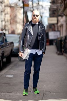 details:    Street Style: Neon Nikes and Acne Leather.    This is a great look.