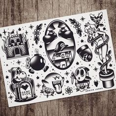 Flash set, now available on my page ♥ tattoos ♥ олдскул Tattoo Designs, Design Tattoo, 90s Tattoos, Black Tattoos, Flash Tats, Tattoo Flash, Games Tattoo, Tatuagem Old Scholl, Desenhos Old School