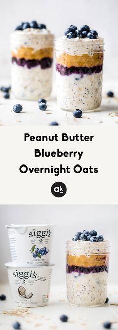 Amazing peanut butter blueberry overnight oats that taste like a classic PB&J. You'll love these healthy, no sugar added overnight oats made with siggi's yogurt for an extra boost of protein! Make them ahead of time for a healthy meal prep friendly breakfast. This post is in partnership with siggi's. #ad #breakfast #mealprep #oatmeal #blueberry #peanutbutter #protein
