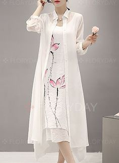Dresses - $82.54 - Linen Solid Long Sleeve Maxi Casual Dresses (1955127306)
