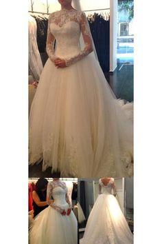 Long Sleeve Wedding Dresses, White Long Sleeve Wedding Dresses, Long Wedding Dresses, Chic Wedding Dresses Ball Gown Long Sleeve Sweep/Brush Train Bridal Gown WF02G42-884