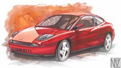 Hand rendered Fiat Coupe using markers, chalk and water colours, copyright N.Lette