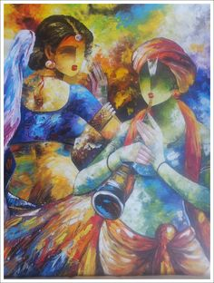 Discover all images by rajeshfineart. Find more awesome images on PicsArt. Modern Indian Art, Indian Folk Art, Krishna Krishna, India Painting, Classic Sailing, Radha Krishna Wallpaper, Lord Krishna Images, Krishna Painting, Indian Art Paintings