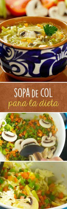 Receta de sopa de col para detox y para bajar de peso. Esta sopa calientita de verduras y col te ayudará a perder peso y acelerar tu metabolismo gracias a su combinación de ingredientes.