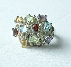 Vintage Multi Stone Cluster Ring,Chunky Sterling Ring,Multi Gemstone Ring,Dinner Ring,Cocktail Ring,Statement Ring,Signed EL,Ring Size 8 1/2 by Oldtreasuretrunk on Etsy