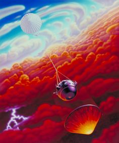 NASA concept art by C. Kallas depicts the Galileo probe descending into Jupiter's stormy atmosphere, 1995