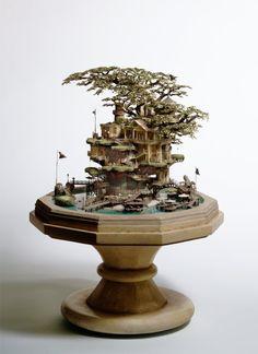 Takanori Aiba created these complex miniature buildings. 5