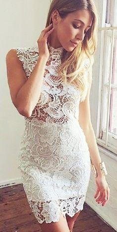 Sheer Crochet Lace Dress. Bietjie rof, maar mooi!