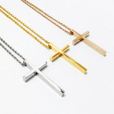 Fashion gold/rose gold/silver big chunky jesus cross necklace pendant hip hop jewelry stainless steel body chain necklace