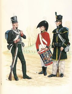 War of 1812.  Private, 16th US infantry, 1812.  Musician, US Artillery, 1812.  Private, 4th Rifle Regiment, 1814.