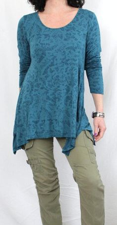 Soft Surroundings Fluid Fabric Scoop Neck Print A-line Tunic Green Sz L #SoftSurroundings #Tunic