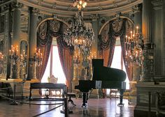 Another from THE BREAKERS, Rhode Island. This piano room once must've served as a waiting room for the fancy women called and paid to perform favours for any of the estates residents or invited guests.