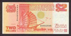 Singapore banknotes 2 Dollars banknote Ship Series - Tongkang Singapore Dollar, Two Dollars, Legal Tender, Dollar Sign, Red Dots, The Past, Childhood, Community, Banknote