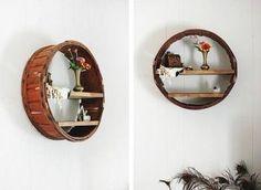 Drewniana, okragła półka, która całkowicie odmieni ściany Twojego mieszkania